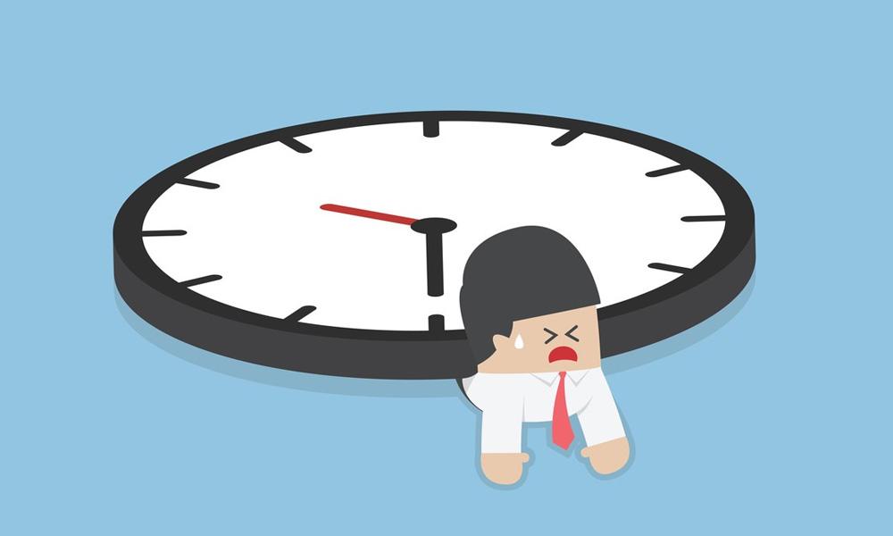 Man stuck under clock illustration